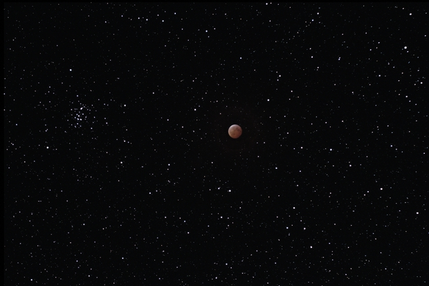 Eclipsed Moon floating among the stars and M44,                                Tim McCollum