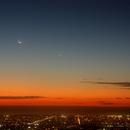 Moon, Jupiter and Mercury over Adelaide, South Australia,                                P-K