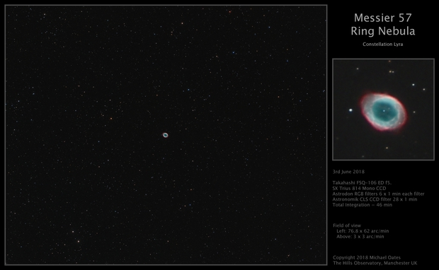 Messier 57 – Ring Nebula,                                Mike Oates