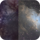 Eagle Nebula and Milky Way 70mm vs 1200mm,                                NHAuniverse