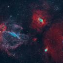 Lobster Claw Nebula SH2-157, Bubble Nebula SH2-162, NGC7638,                                rallyho
