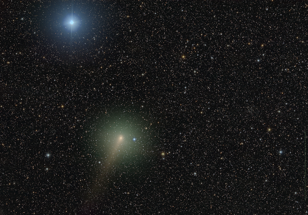 Closeup of Comet C/2020 M3 ATLAS as it drifts by El Nath - During heavy moonlight,                                Dan Bartlett
