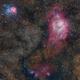 Lagoon nebula and Trifid in Sagittarius.,                                Iñigo Gamarra