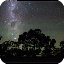 Southern Cross, Pointers and Wheatbelt silhouettes with green airglow,                                Roger Groom