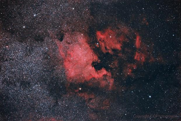 North American Nebula (NGC 7000) and Pelican Nebula (IC 5070),                                CGPhotography