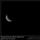 Waxing Crescent Moon, Jupiter and its moons,                                José Miranda
