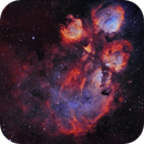 NGC 6334 (Cat's Paw) SHO with RGB stars,                                Ben
