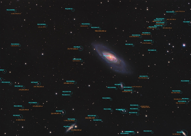 Astronomical distances to galaxies behind M106 ,                                Andres Noriega