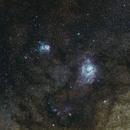 Trifid and Lagoon nebula from La Palma,                                Gendra