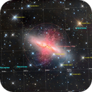 M 82 (NGC 3034) with IFN (Integrated Flux Nebulae), HaLRGB Image Annotated,                                Eric Coles (coles44)