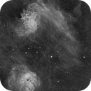 Flaming Star Nebula and Tadpoles IC405 / IC410 2-Panel-Mosaic in H-Alpha,                                Mario Gromke