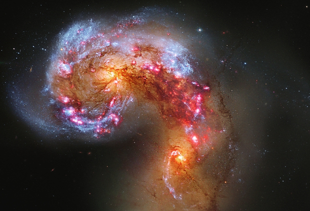 Galactic Collision — Antennae Galaxies, NGC 4038-9, Hubble Space Telescope,                                Rudy Pohl