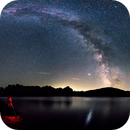 Summer Milkyway with Jupiter and Saturn over Swiss mountain lake,                                MrPhoton
