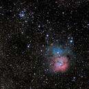 Trifid Nebula and M21,                                starfield