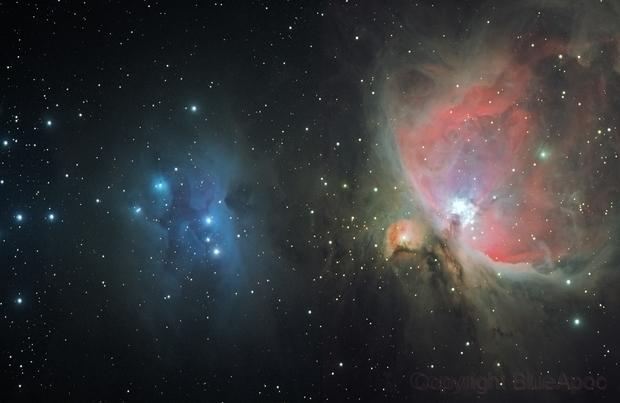 M42 + NGC1973/5/7,                                BlueApoc