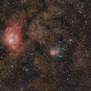 Lagoon & Trifid nebulae: adding 4 subs / Canon 6D mod + Canon 400mm L f/5.6 / SW star adv / 1600iso,                                patrick cartou