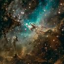 Eagle Nebula (M16) with Pillars of Creation - Narrowband,                                gmvtex