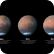 3 Views of Mars over 3.5 hours - reworked images,                                Niall MacNeill