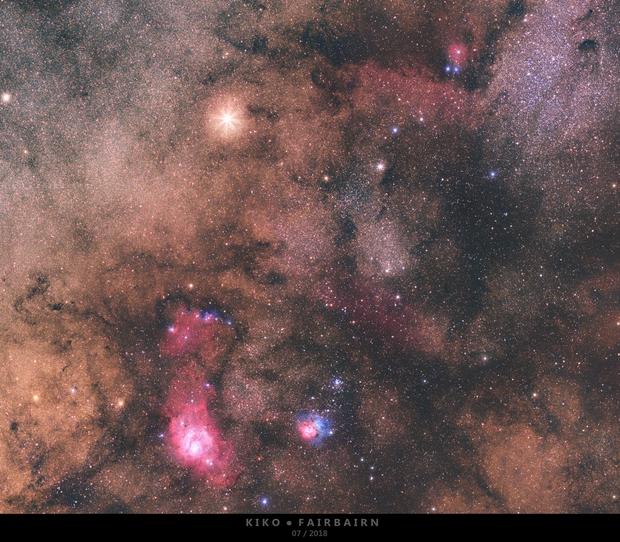 Saturn meets Lagoon, Trifid, M24 and others,                                Kiko Fairbairn