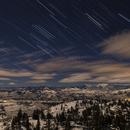 Winter star trails and moonlit landscape,                                Debra Ceravolo