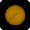 """Plane with jet trail """"orbiting"""" Sun with Sunspots on 4th Sept 2013 (IMG 1982) - Newer version,                                Tej Dyal"""