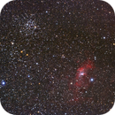 Bubble Nebula (NGC 7635) and M52 (NGC 7654) wide field,                                Dom Schepis