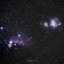 orion nebula , horse head nebula and flame nebula,                                jonathanelihis