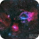 Sh2-157 & NGC 7635 - The Lobster Claw and the Bubble Nebulae  HOO,                                Paul Borchardt