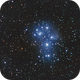 M45 Pleiades experiments Pentax K30D astrodon + Pentax 300mm f/4.0 for 6x7 / 640iso / SIRIL 0.9.12,                                patrick cartou