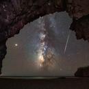 Perseiden-Meteor, Milchstraße und der helle Mars,                                Sebastian Voltmer