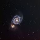 M51 Whirlpool of interacting galaxies C8 f7 LRGB,                                Scott Denning