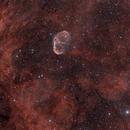 Crescent Nebula - Floating on red velvet,                                urban.astronomer
