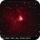 Sh2-206 / NGC 1491, Hα, 10 Oct 2014,                                David Dearden
