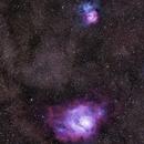 Trifid and Lagoon Nebulae,                                fewayne