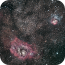 La nébuleuse  de la Lagune (M8) et la nébuleuse Trifide (M20),                                Didier SPREUTELS
