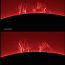 The same solar prominence a day apart,                                J_Pelaez_aab