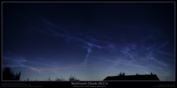 Noctilucent Clouds (NLC's) 25th June 2018. Prestwich, Manchester UK,                                Mike Oates