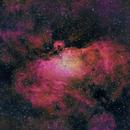 M16 Nebulosa del águila (Eagle nebula) - Banda estrecha (narrow band) - Ha OIII SII (HOS),                                Alfredo Beltrán