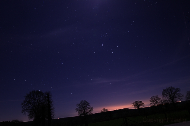 Orion and the winter triangle,                                kaelig