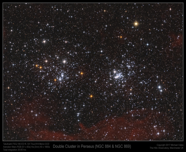 Double Cluster in Perseus (with Ha) (NGC 884 & NGC 869),                                Mike Oates