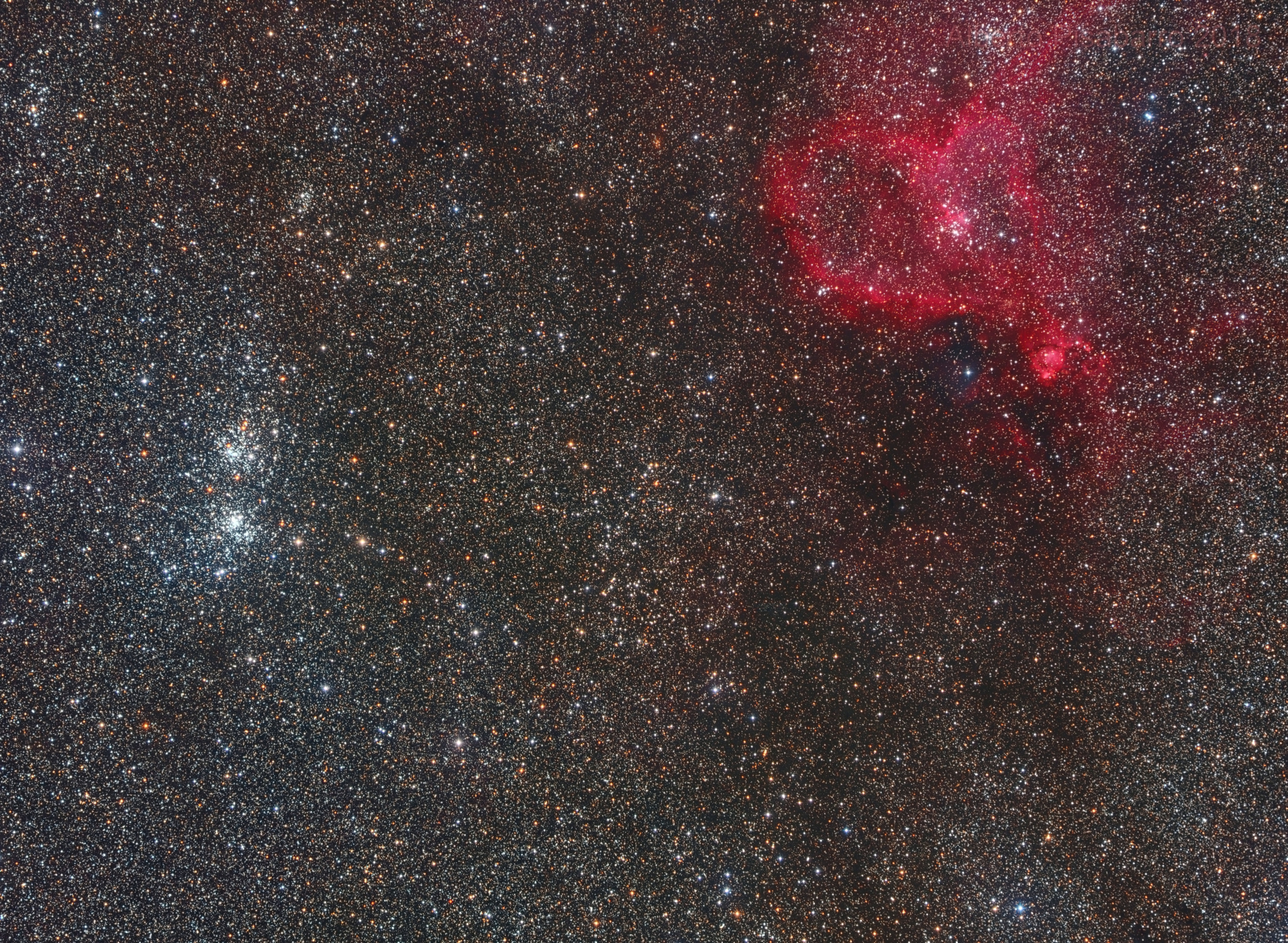 Wide field - Perseus Double Cluster and Heart Nebula,                                Alberto Pisabarro
