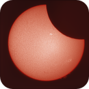 The moment the Moon touches the Sun (original)during the eclipse on June 10, 2021 - 12:58  in H-Alpha.,                                Sergei Sankov