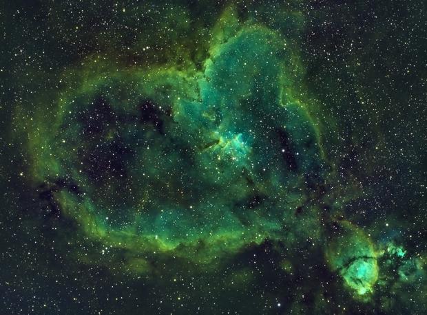 IC 1805 - Heart Nebula - SHO - Esprit 80 - ASI1600MM - Wide Field,                                Rowland Archer