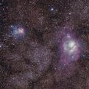 Lagoon and Trifid Nebulae, first attempt,                                blindsmokeybear