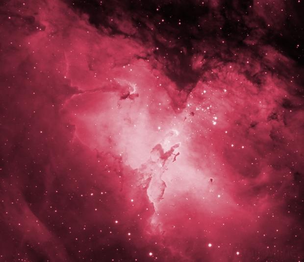 The Pillars of Creation - M16 Eagle Nebula core region in hydrogen alpha,                                SoundIdea