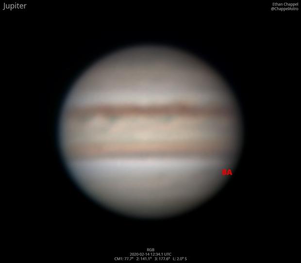 Jupiter on February 14, 2020,                                Chappel Astro