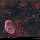 NGC6888 and Soap Bubble Nebula (PN G75.5+1.7) RGB,                                vi100