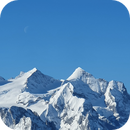 Moon over mountain group Wetterhorn,                                AstroEdy