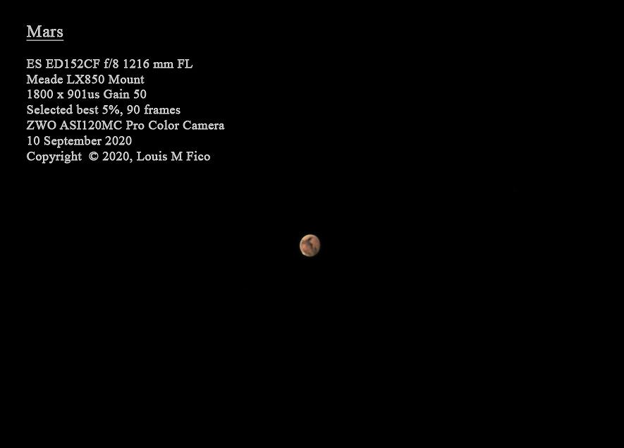 Mars - 10 Sept 2020,                                MJF_Memorial_Observatory