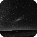 B&W  Image of M31-Andromeda, the Milky Way with Cassiopaia...the big bad wolf has stolen the colour ;),                                Holger Meißner